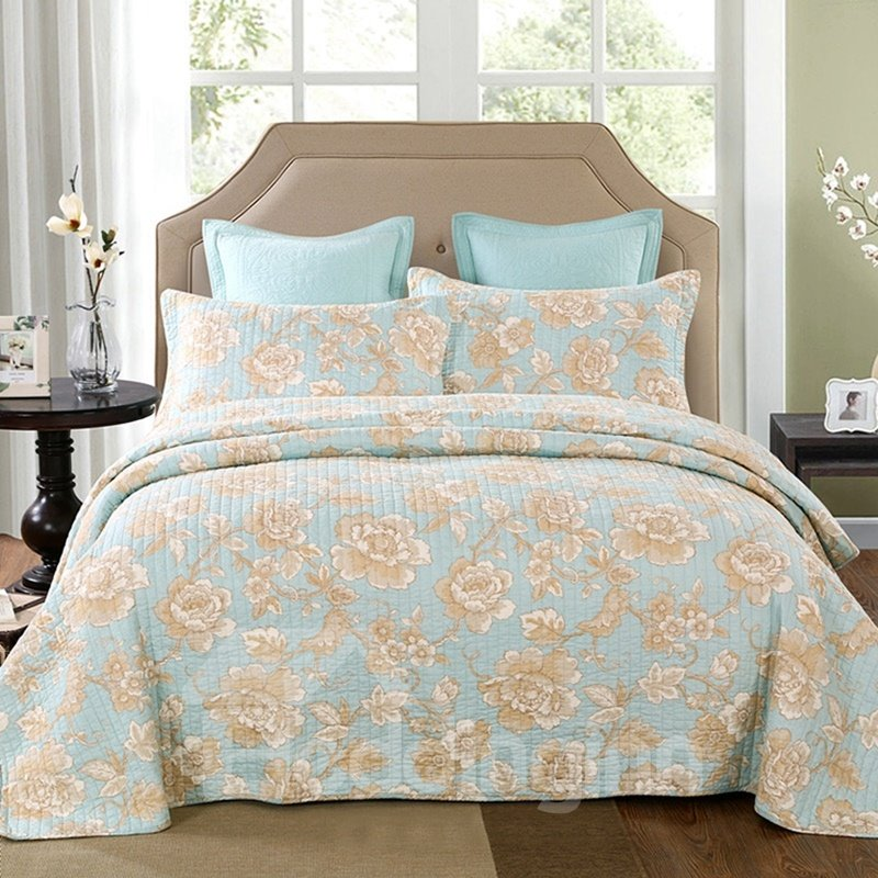 Peony Print Blue Soft 3-Piece Cotton Bed in a Bag