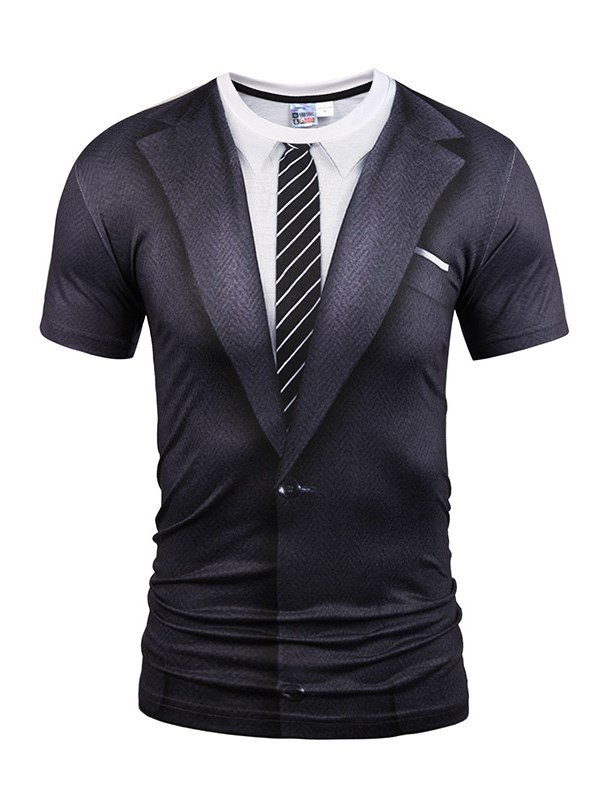 Black Suit With Striped Tie Printing Short Sleeve Men