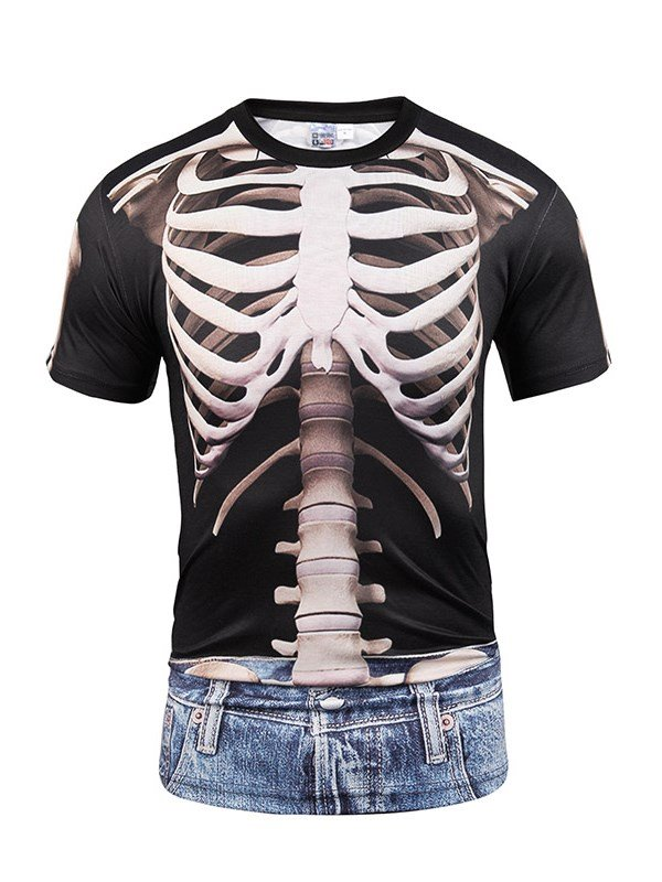 Human Skeleton With Black Pattern And Jeans Printing Men