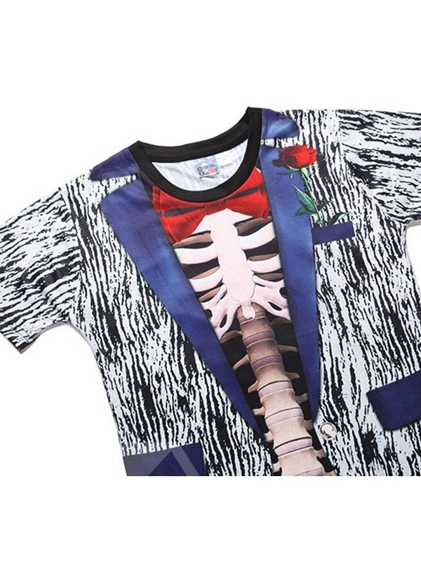 Human Skeleton and Bow Tie Printing Polyester Round Neck Man's 3D T-Shirts