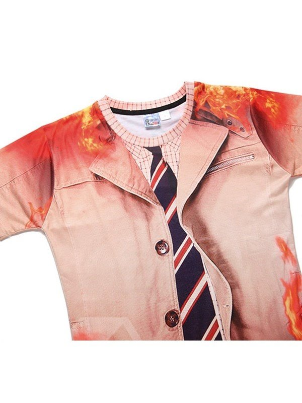 Blaze and Tie Printing Polyester Round Neck Man