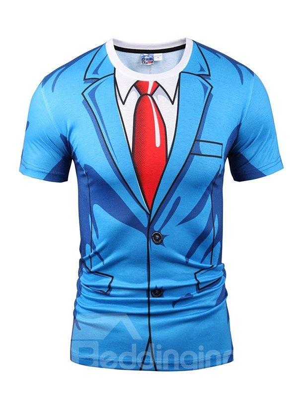 T-Shirt | Sleeve | Short | Print | Suit | Blue | Tie | Men | Red | 3D | Ty