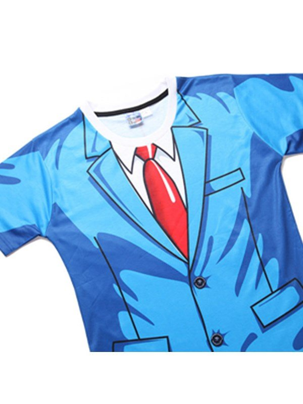 Blue Suit With Red Tie Printing Short Sleeve Men