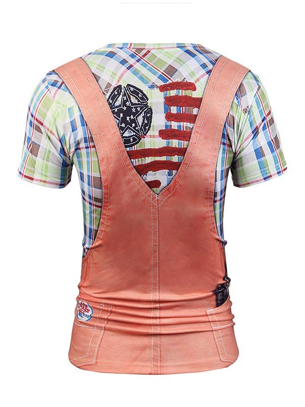 Creatively Pink Overall Printing Short Sleeve Men