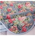 Red Peony Print Blue Cotton 3-Piece Bed in a Bag