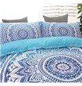 Bohemian Style Mandala Print Blue Gradient Polyester 3-Piece Bedding Sets/Duvet Cover
