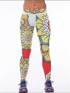 Sunflower Polyester Elastic Waist Fitness Yoga Sport Female 3D Leggings