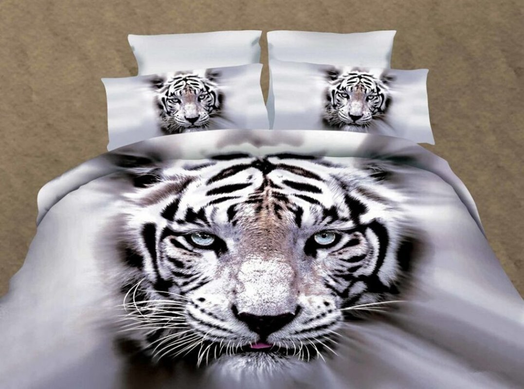 White Tiger Printed Polyester 3D 4-Piece Bedding Sets/Duvet Covers