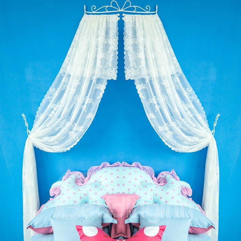White Lace Bed Canopy Netting Princess Mosquito Net