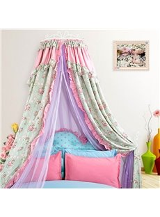 Country Style Flowers Print Double Layers Bed Canopy