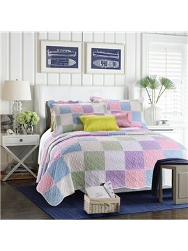 Colorful Purple Pink Plaid Patchwork Cotton 3-Piece Queen Size Bed in a Bag