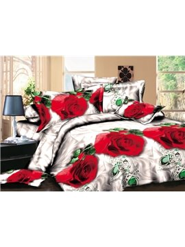 Realistic 3D Red Rose Printed Polyester 4-Piece Bedding Sets