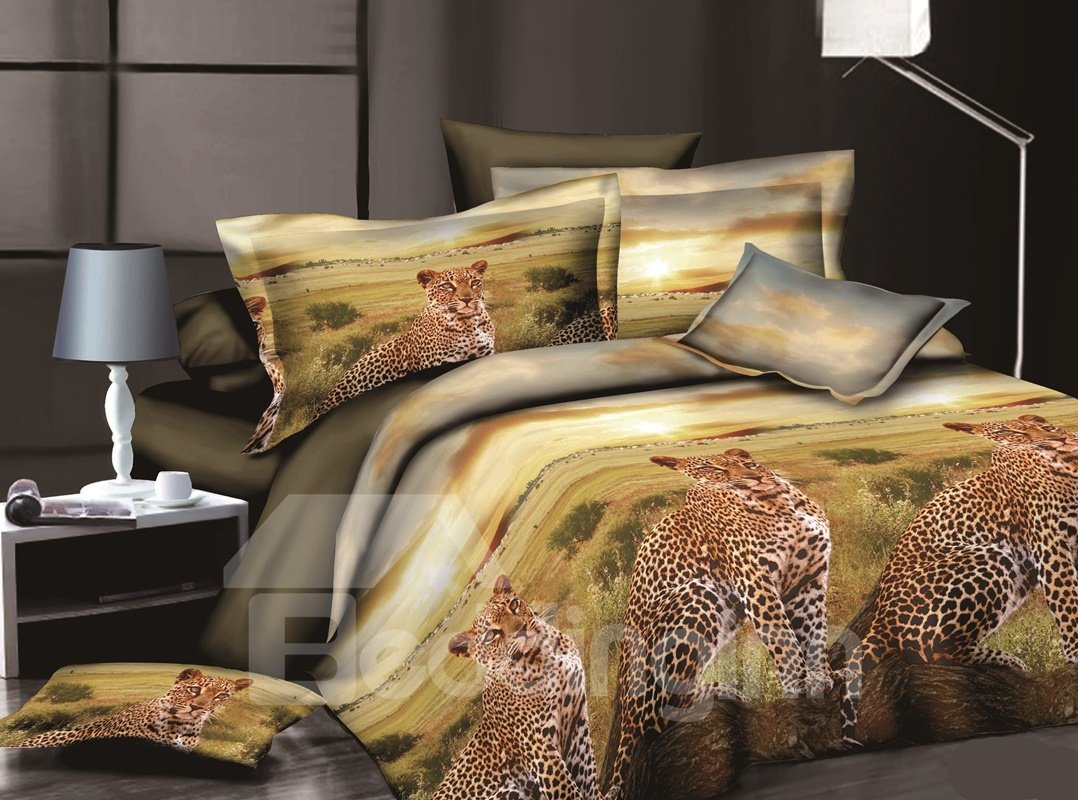African Leopard 3D Printed Polyester 4-Piece Bedding Sets