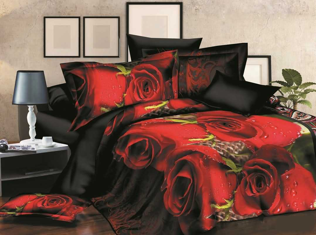 Dewy Red Rose 3D Printed Polyester 4-Piece Bedding Sets