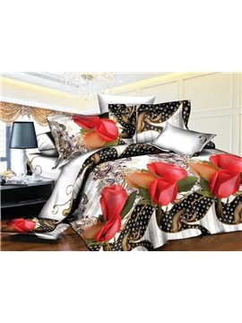 Retro Style Red Rose Print 4-Piece Polyester Duvet Cover Sets