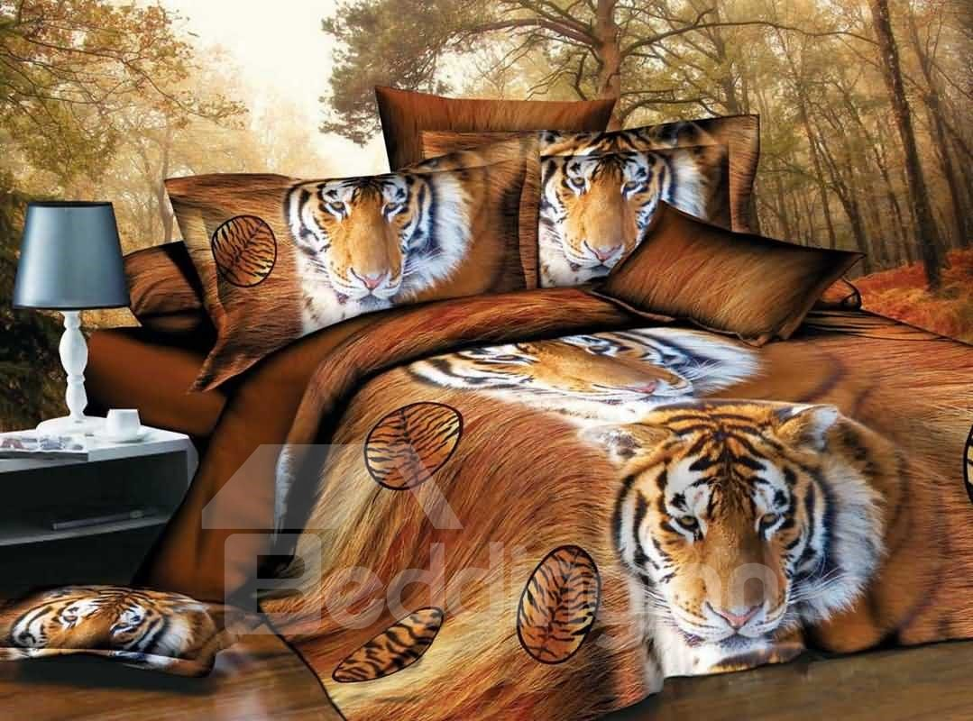 Siberian Tiger Face 3D Printed Polyester 4-Piece Bedding Sets