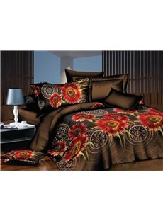 Exotic Style Flower Print Polyester 4-Piece Bedding Sets