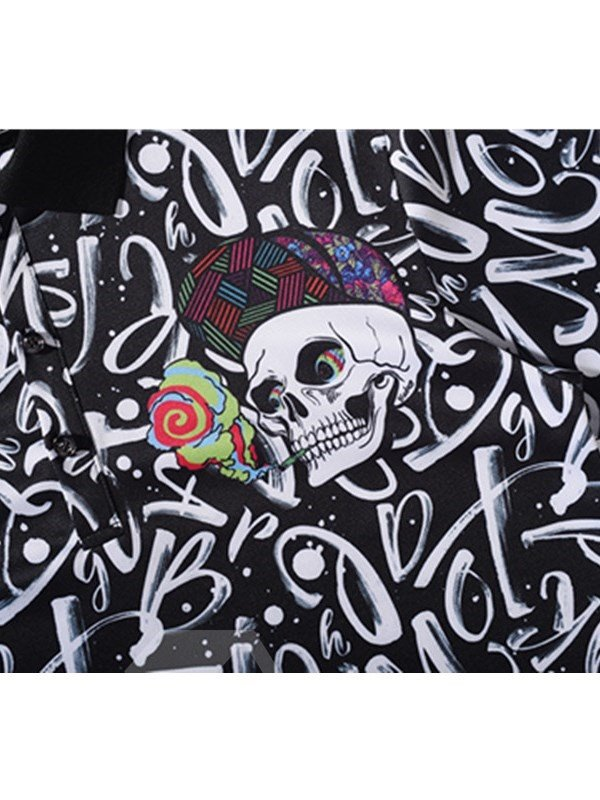 Skull Heads with Hats and Letters Printing Polyester Men's 3D T-Shirts