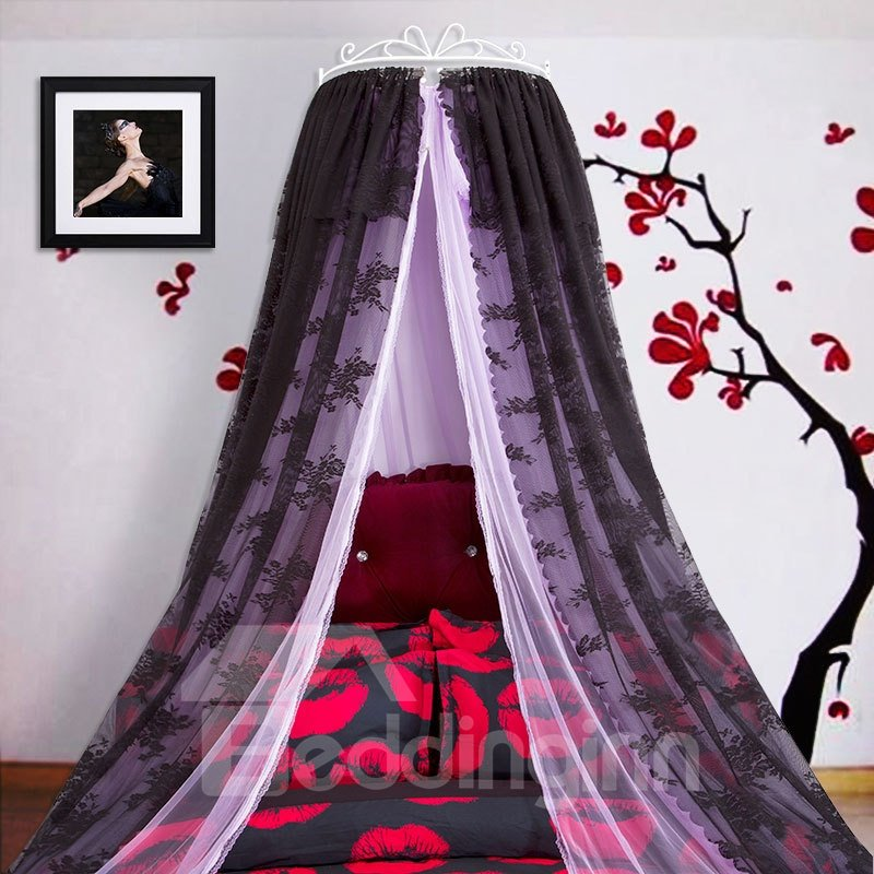 Crown Design Double Lace Black and Purple Bed Canopy