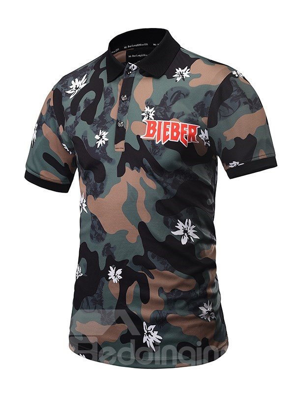Camouflage with Withe Flower and Letters Polyester Short Sleeves Men