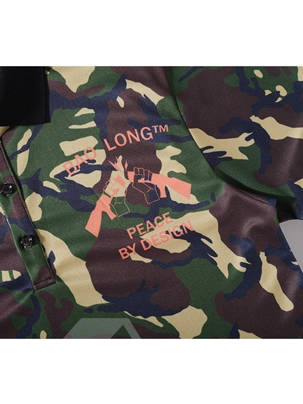 Camouflage with Letters Polyester Short Sleeves Men's 3D T-Shirts