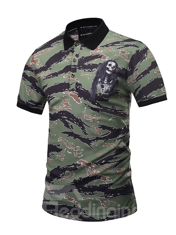 Skeleton with Hair and Blue Stripes Printing Polyester Men