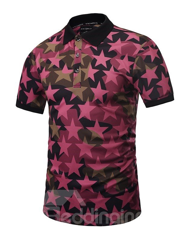 Pink Stars with Buttons Polyester Men