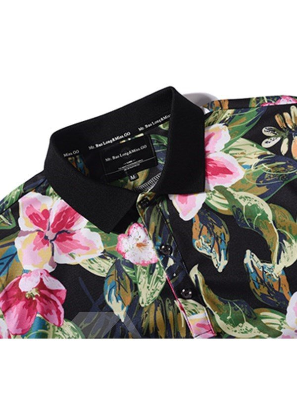 Pink Flower with Green Leaves Printing Polyester Short Sleeves Men's 3D T-Shirts