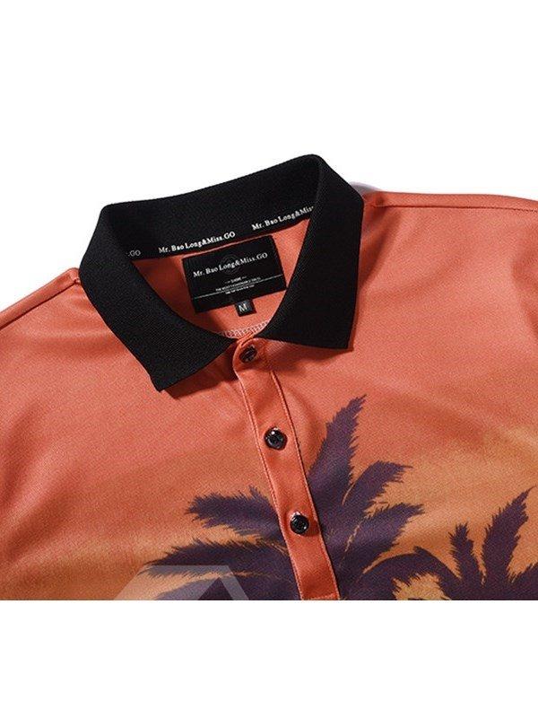 Coconut Tree Printing Polyester Round Neck Orange Men