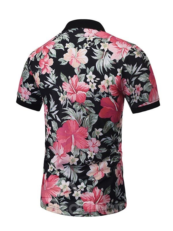 Colorful Flowers with Letters Polyester Round Neck Men's 3D T-Shirts