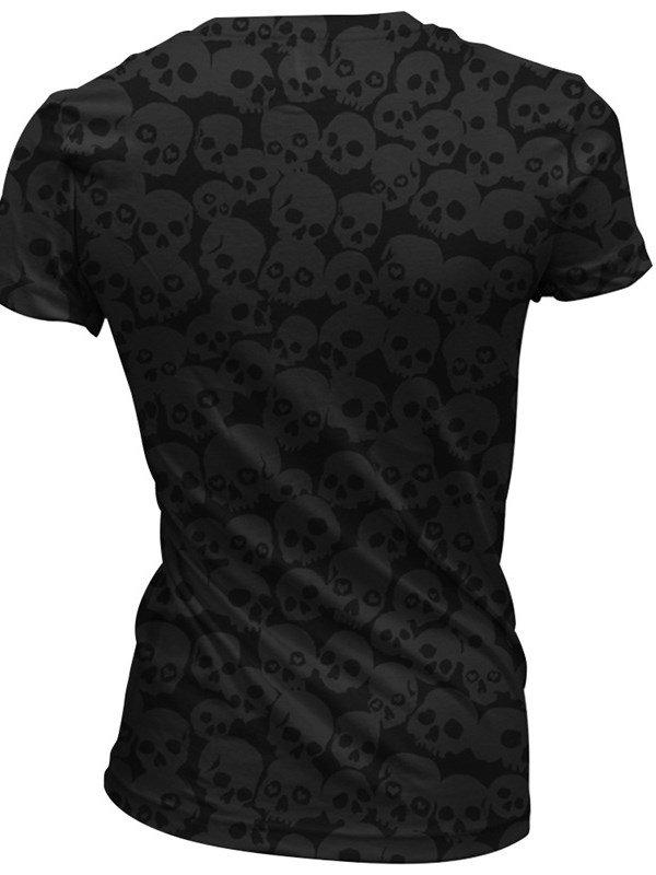 Red Skull Heads with Skeleton Polyester V-Neck Black Female 3D T-Shirts