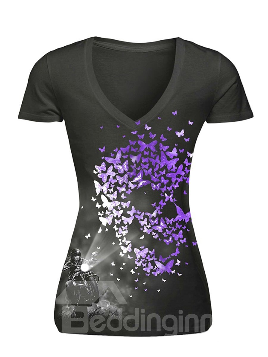 Purple Butterfly and Skull Heads Printing Polyester 3D Female T-Shirts