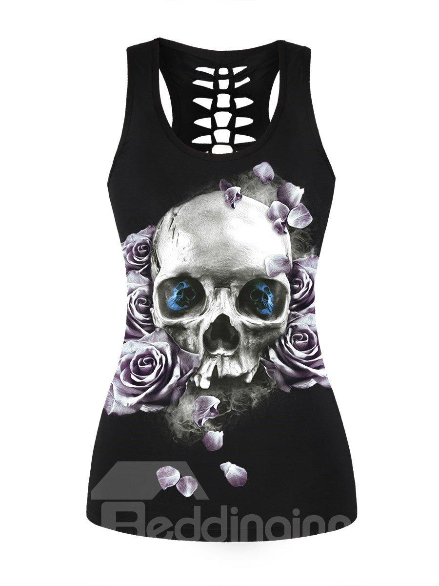 Black Skull Head with Purple Rose Printing Sports Female 3D Tops