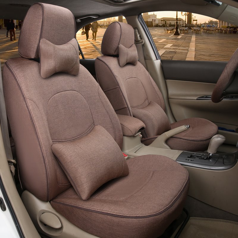 Colorful Luxurious Pure Flax And Natural Fibers Customed-Fit Car Seat Cover