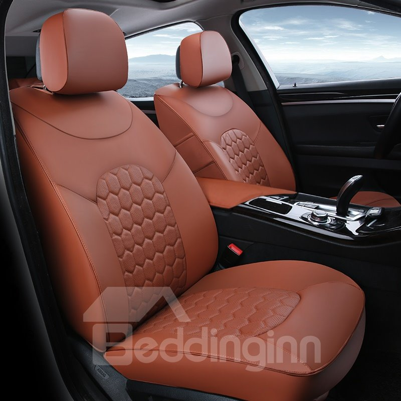 Trendy Modern Plaid Design Sports Styled Leather Custom Fit Car Seat Cover
