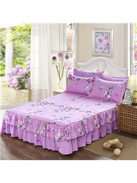 Butterflies Print Princess Style Purple Cotton Bed Skirt