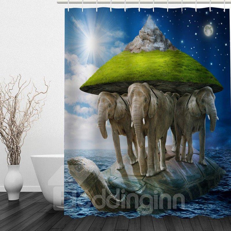 Fantastic Island 3D Printed Bathroom Waterproof Shower Curtain