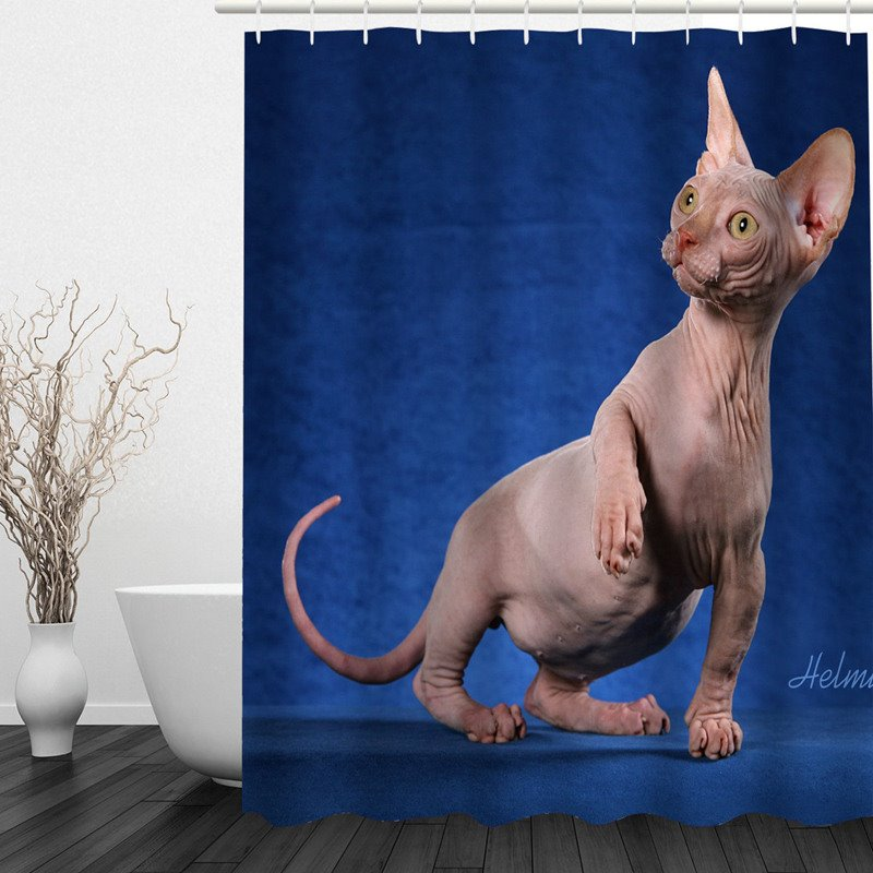 3D Sphinx Cat Printed Polyester Blue Bathroom Shower Curtain