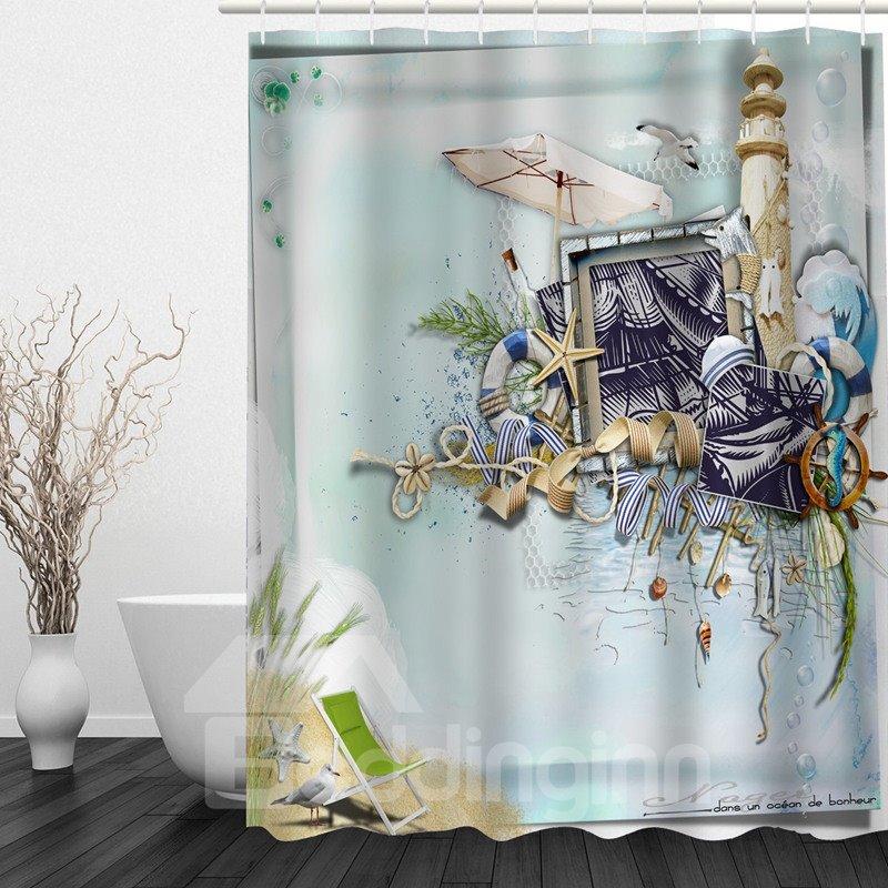 Beach Style 3D Printed Bathroom Waterproof Shower Curtain
