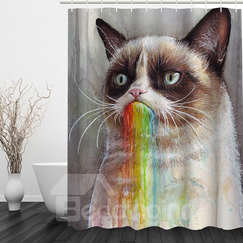 Cute Cartoon Cat 3D Printed Bathroom Waterproof Shower Curtain