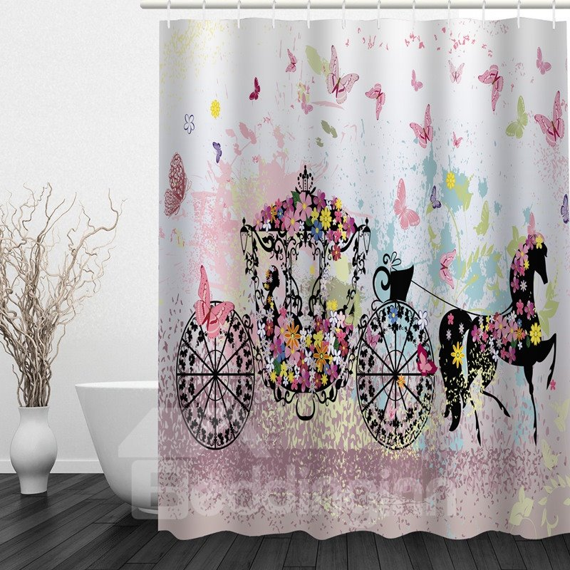 Romantic Butterfly Carriage 3D Printed Bathroom Waterproof Shower Curtain
