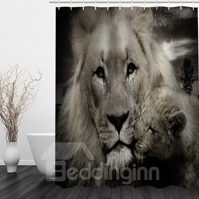 Lion Mother and Baby 3D Printed Bathroom Waterproof Shower Curtain