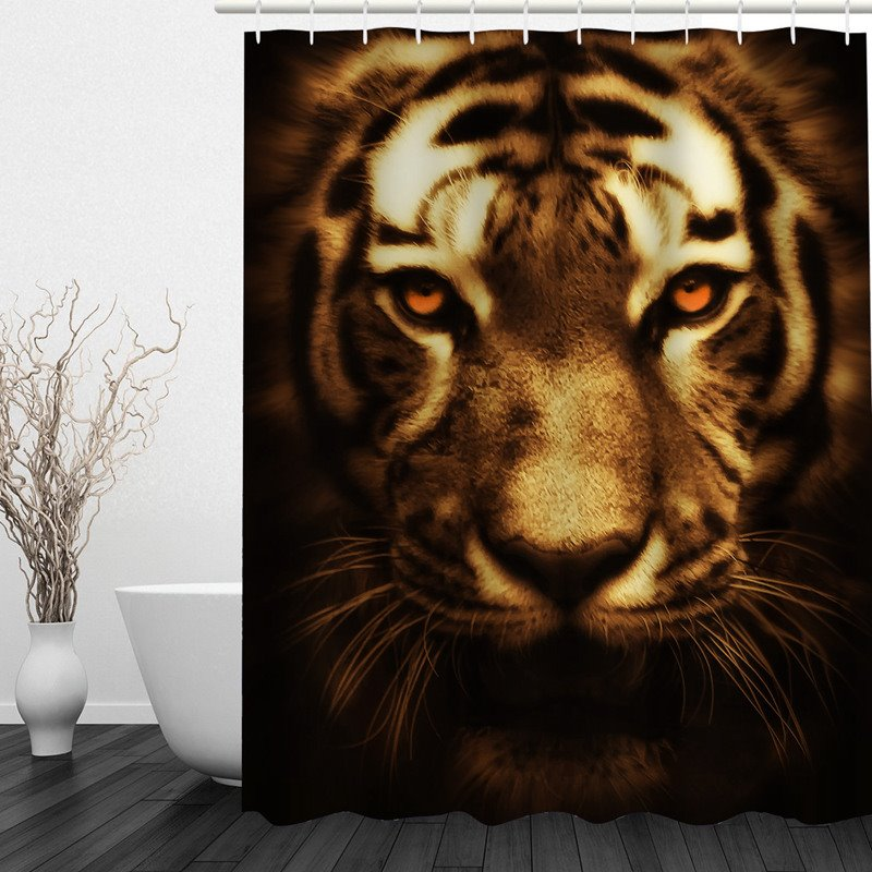 3D Tiger Head Printed Polyester Bathroom Shower Curtain