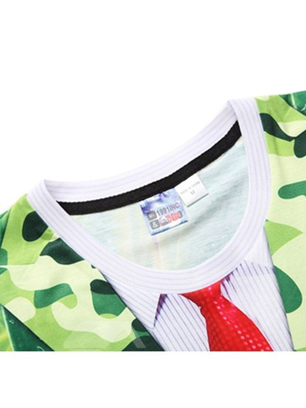 Green Leaves with Red Tie Printing Polyester Men