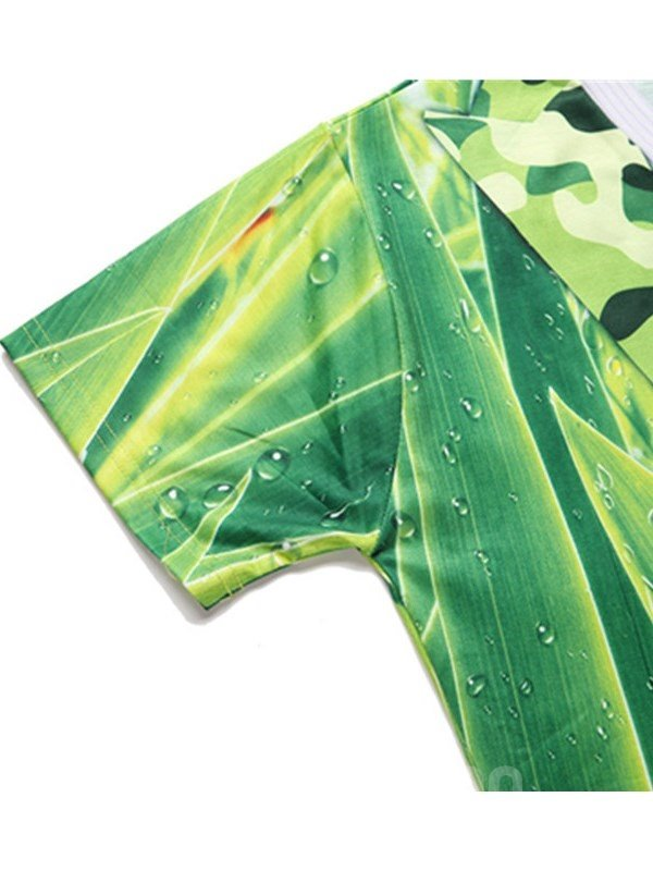 Green Leaves with Red Tie Printing Polyester Men's 3D T-Shirts