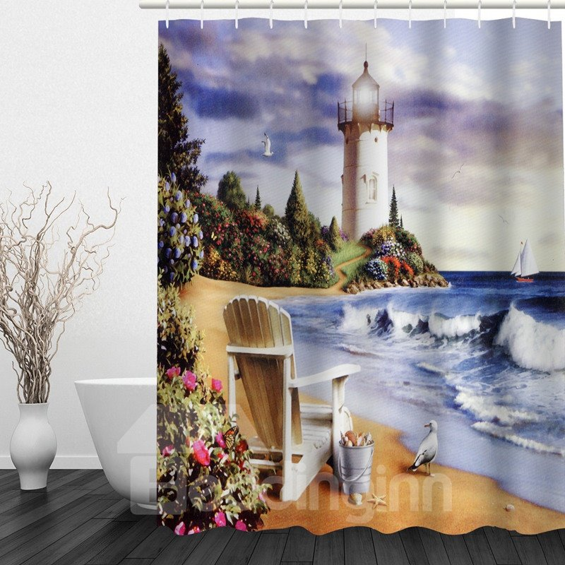 Oil Painting Seaside Castle 3D Printed Bathroom Waterproof Shower Curtain