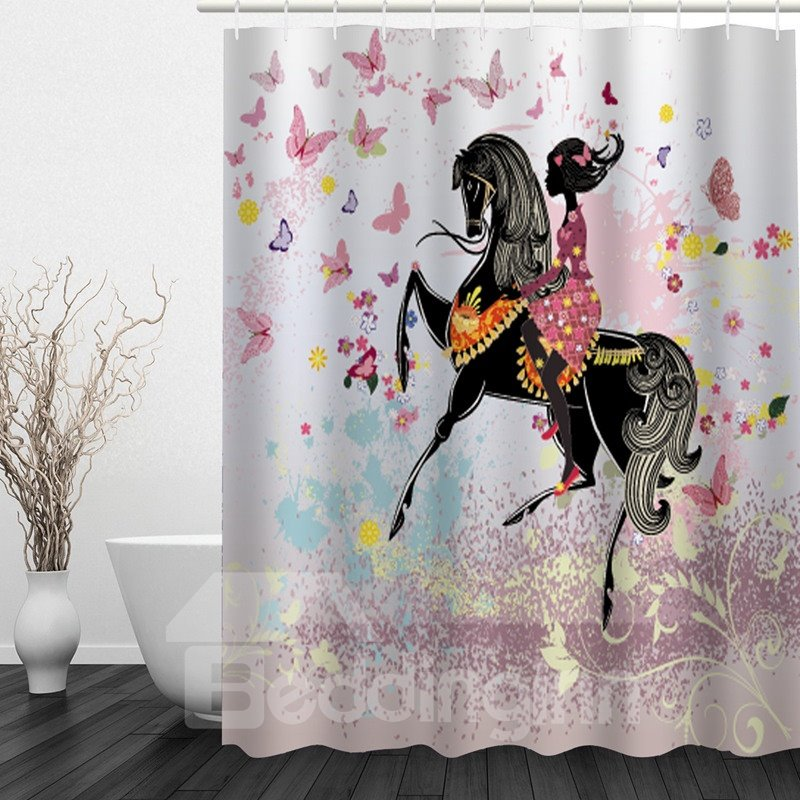 Butterfly Girl Riding Horse 3D Printed Bathroom Waterproof Shower Curtain