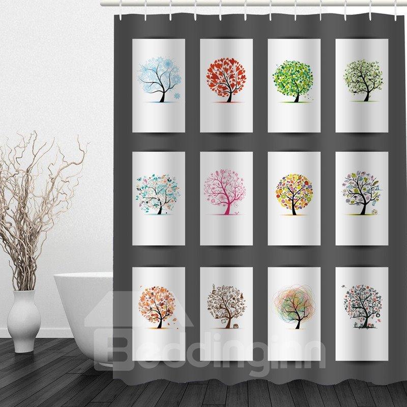 Cute Colorful Tree 3D Printed Bathroom Waterproof Shower Curtain