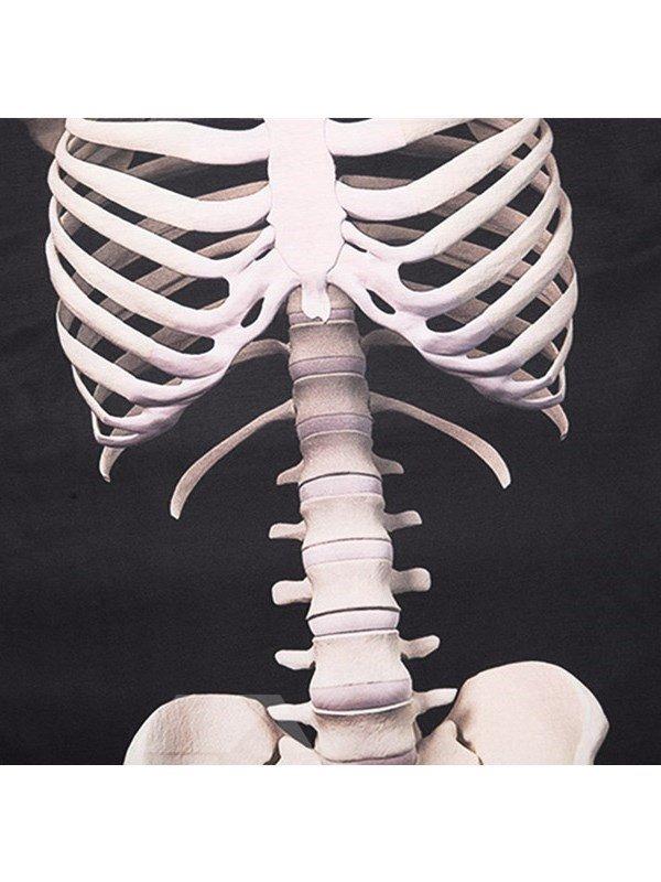 Black Skeleton Printing Polyester Sports Round Neck Men