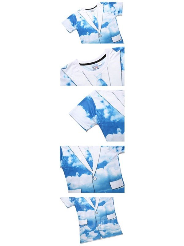 Blue Sky and Clouds Printing Polyester Casual Round Neck Men's 3D T-Shirts